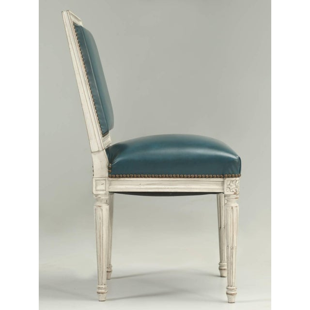 Blue French Louis XVI Style Dining Chairs - Set of 6 For Sale - Image 8 of 12