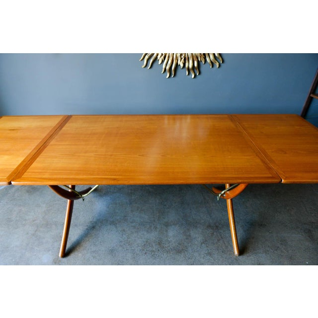 Metal Hans Wegner for Andreas Tuck Model At-304 Dining Table, Circa 1955 For Sale - Image 7 of 13