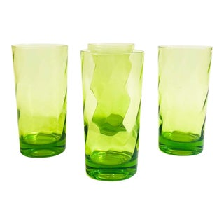 Vintage Green Swirl Federal Glass Tumblers / Set of 4 For Sale