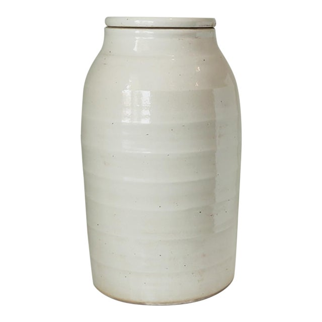 1980s Organic White Jar With Lid For Sale