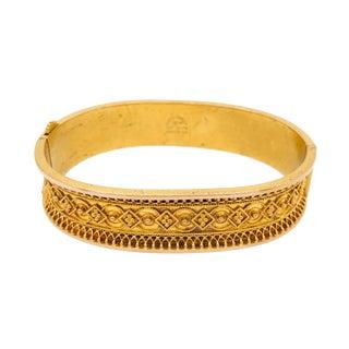 Petite Victorian 14k Gold Etruscan Bangle Bracelet For Sale