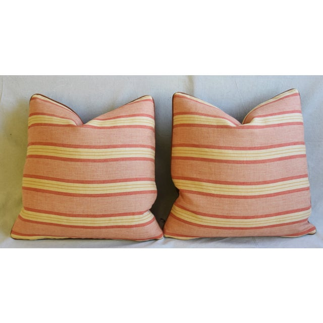"Rogers & Goffigon & Leather Feather/Down Pillows 20"" Square - Pair For Sale In Los Angeles - Image 6 of 13"