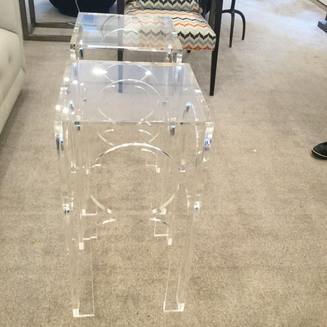 Transparent Acrylic Side Tables -- A Pair For Sale - Image 4 of 5
