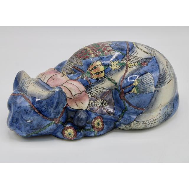 A superb Vintage Chinoiserie Blue Ceramic Cat, circa 1950. Charming shape, unique design. The perfect accent decoration,...