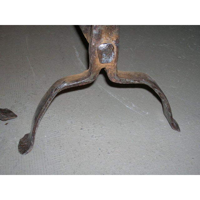 Metal 18th Century Scrolled Top Andirons - a Pair For Sale - Image 7 of 9