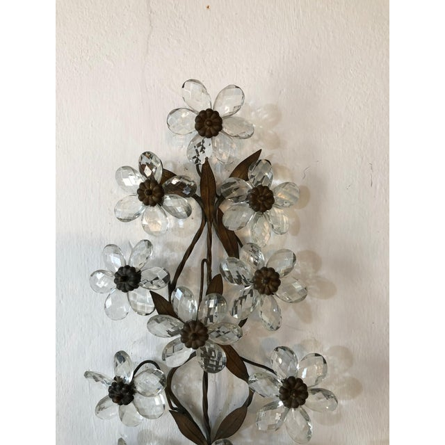 Gold Huge Clear Flower Maison Bagues Style Three-Light Sconces For Sale - Image 8 of 10