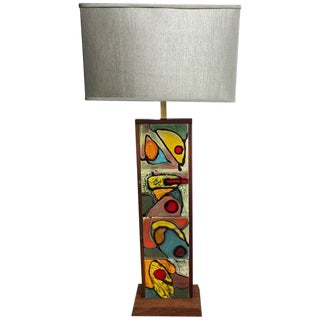 Mid-Century Modern Teak Lamp Attributed to Harris Strong For Sale