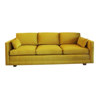 1960's Lawson Golden Brass Velvet Sofa