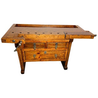 Early 20th Century Workbench With Three Drawers For Sale