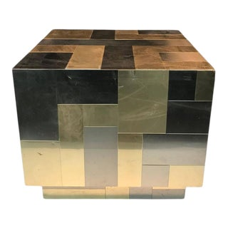 Cube-shaped Brass and Chrome Patchwork Table by Paul Evans For Sale