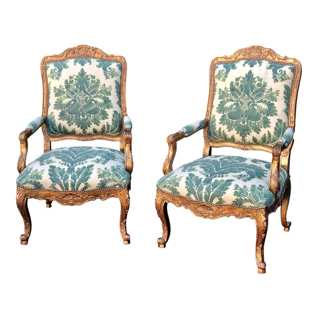 Minton-Spidell Mariano Fortuny Louis XVI Bergere Chairs - a Pair For Sale