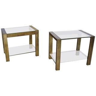 Custom Vintage Bronzed Metal and Glass End Tables