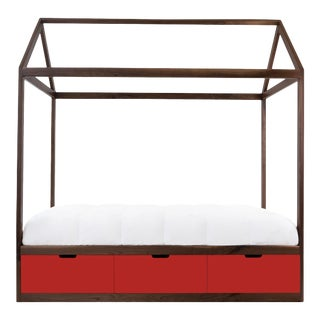 Nico & Yeye Zen Full Panel Bed with Drawers Made of Solid Walnut Red Drawers For Sale