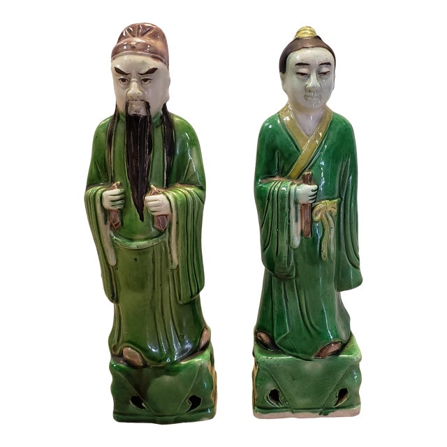 Late 19th Century Chinese Famille Verte Porcelain Scholar and Court Lady Figurines - a Pair For Sale