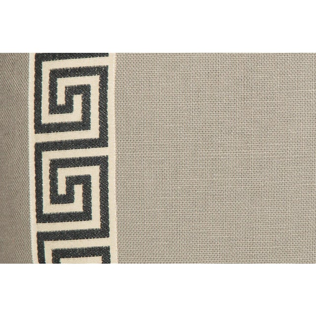 Boho Chic Cream Linen Black and Ivory Greek Key Pillows, a Pair For Sale - Image 3 of 6