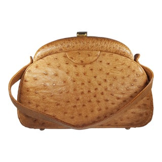1950's Honey Colored Ostrich Handbag For Sale