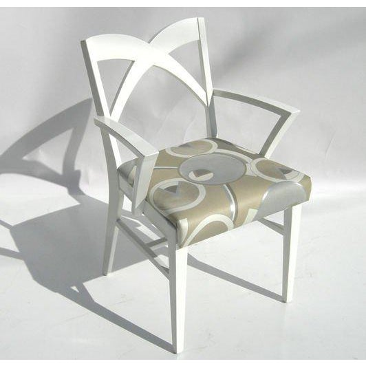 Textile Modernage Glass Dining Table With Chairs For Sale - Image 7 of 9