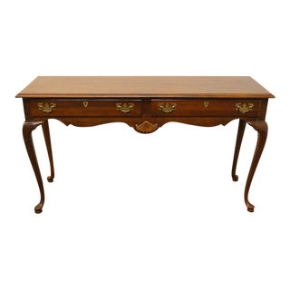 """American Drew Queen Anne Scalloped Shell Detail 52"""" Sofa Accent Table For Sale"""
