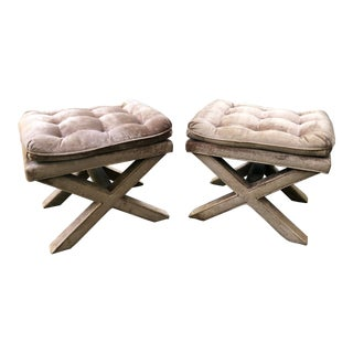 Milo Baughman Style Parsons X Frame Stools - A Pair For Sale