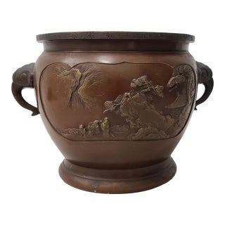 Early 20th Century Chinese Raised Relief Bronze Planter For Sale