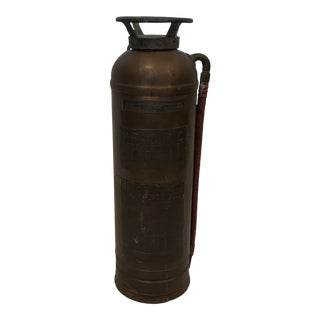 Antique Brass and Copper Fire Extinguisher For Sale