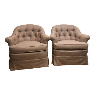 1970 Vintage Hollywood Regency Barrel Back Tufted Skirted Chairs- A Pair For Sale