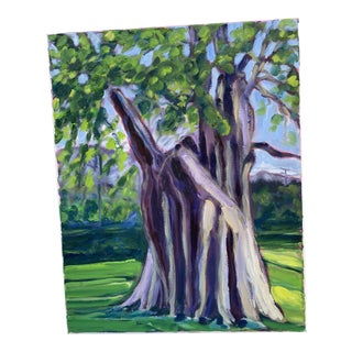 """""""Old Oak Tree"""" Contemporary Plein Air Landscape Oil Painting For Sale"""
