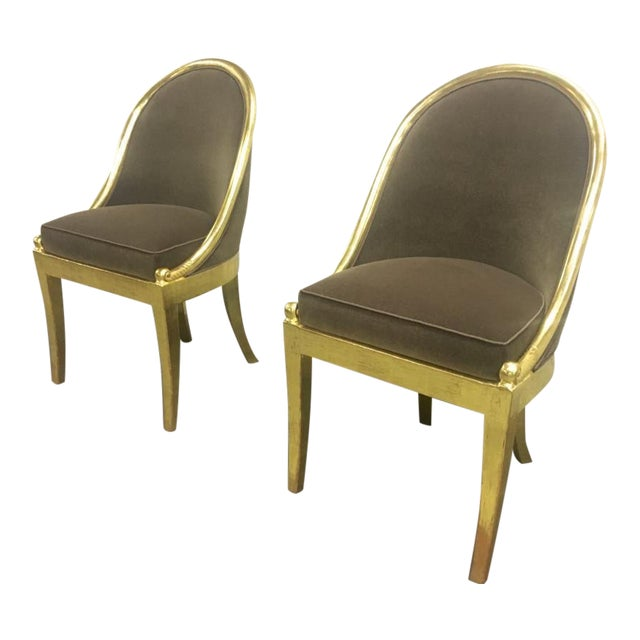 Maurice Dufrene Refined Empire Inspired Gold Leaf Wood Pair of Side Chairs For Sale