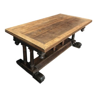 19th Century French Refectory Table With Leaves For Sale