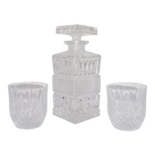 Vintage Crystal Barware Set || Czech Bohemia Crystal Decanter + Two Crystal Cocktail Glasses || Party for Two || Three Piece Whiskey Set For Sale