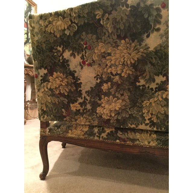 Mid 19th Century French 19thC Settee Covered in Scalamandre Marly Forest Green Fabric For Sale - Image 5 of 12