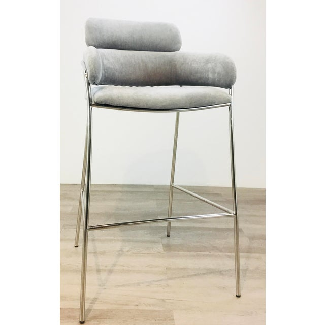 Stylish Interlude Home Modern Gray Velvet Counter Stools Set of Two, polished nickel frames, showroom floor samples