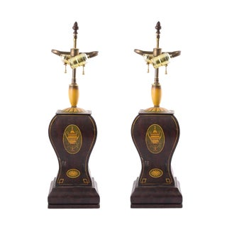 1920s Vintage Regency Style Painted Tole Lamps- A Pair For Sale