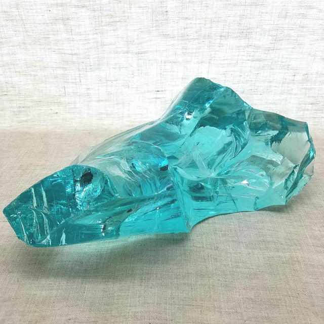 Art Glass Aqua Slag Glass Sculpture For Sale - Image 7 of 9