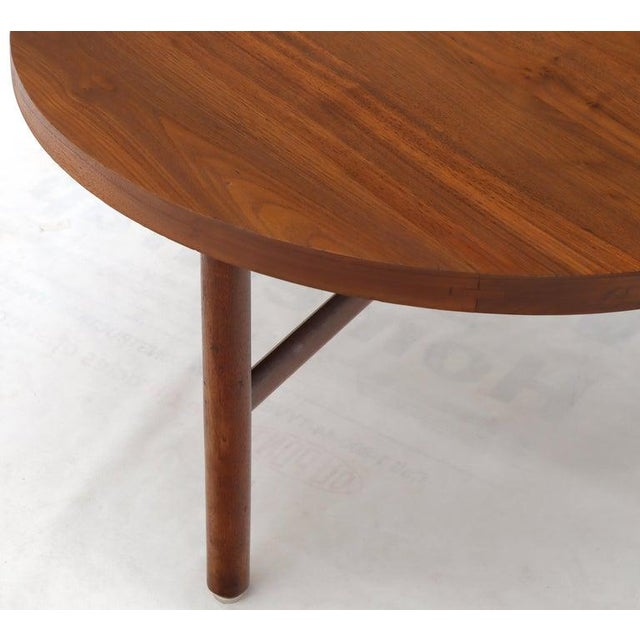 Thick Solid Teak Top Round Coffee Center Table For Sale - Image 9 of 11