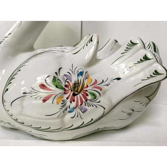 Figurative Large Hand Painted Vintage Swan With Flower Vase/Frog- Made in Portugal For Sale - Image 3 of 11