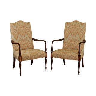 Hickory Chair Co. Sheraton Style Pair Mahogany Lolling Armchairs For Sale
