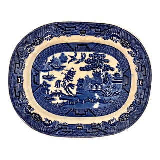 Antique Blue WillowPlatter in Blue and White For Sale