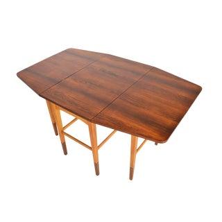 Danish Modern Rosewood + Oak Drop Leaf Console Table For Sale