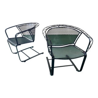 1960s Mid Century Modern Wrought Iron Rocker Chairs - a Pair For Sale