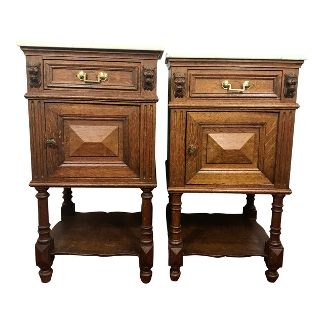 Pair of Oak Belgian 19th Century Side Tables For Sale