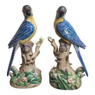 Chinese Porcelain Parrots - a Pair