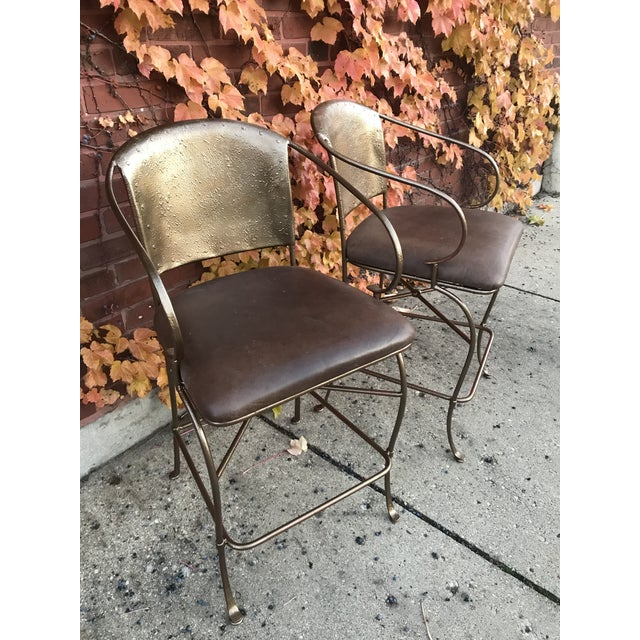 Vintage Bronze Bar Stools - a Pair - Image 4 of 6