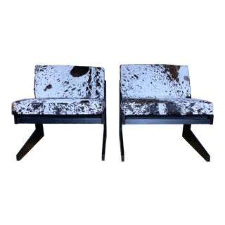 Pair Cowhide & Black Lacquered Lounge Chairs, Germany 1980 For Sale