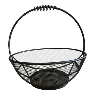 1990s Contemporary Metal and Metal Mesh Geometric Basket For Sale