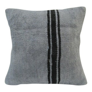 Handmade Striped Gray Turkish Kilim Pillow Cover For Sale