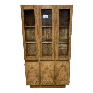 Milo Baughman Style Burl Display Cabinet For Sale