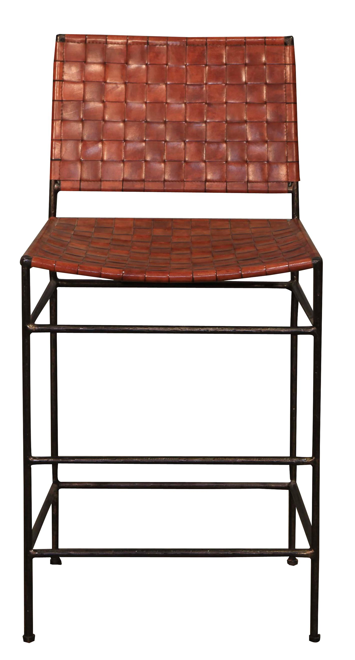 Vintage Sarreid Ltd Woven Leather Iron Bar Stool Chairish