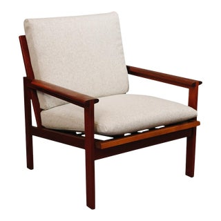 Mid-Century Curated Danish Teak Chair With New Knoll Wool Gray Fabric For Sale