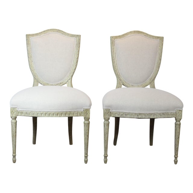 20th Century Louis XVI Style Off-White Side Chairs - a Pair For Sale
